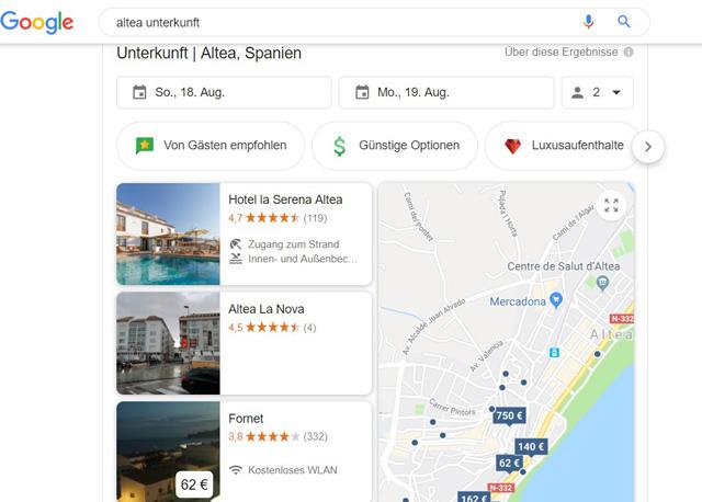 google.de Google Travel – Ferienunterkünfte