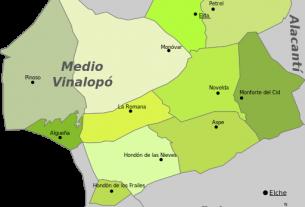 Rathäuser der Gemeinden im Landkreis Medio Vinalopo Karte Beitragsbild