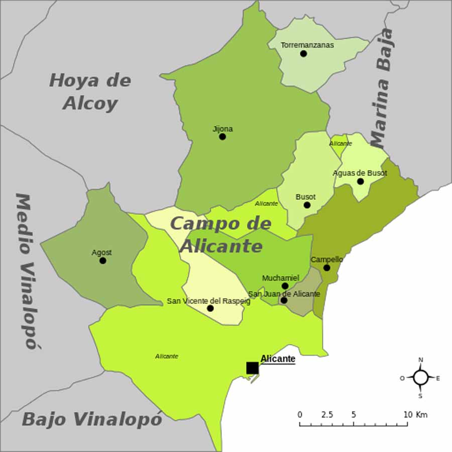 Karte - Mapa - Map: Landkreis District Comarca Campo de Alicante Provinz - Province - Provincia Alicante