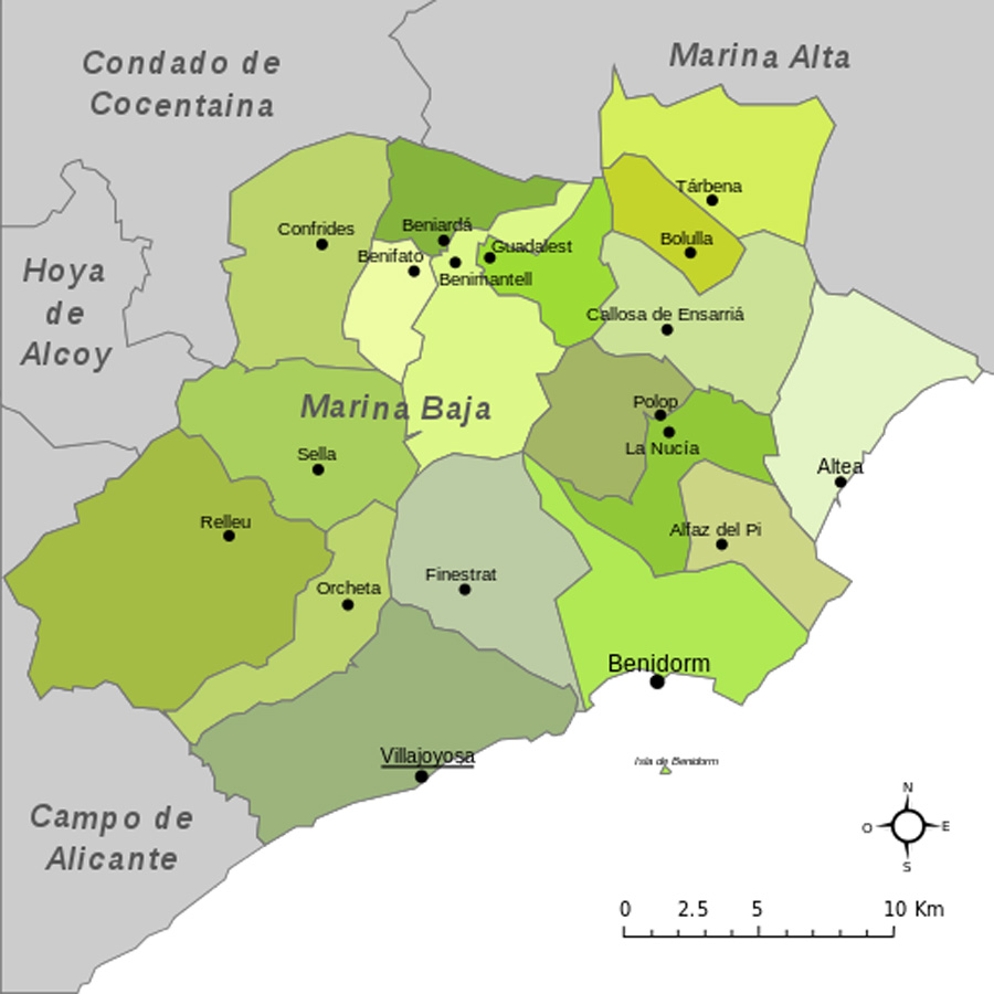 Karte - Mapa - Map: Landkreis District Comarca Marina Baja / Baixa Provinz - Province - Provincia Alicante
