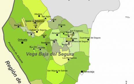 Karte - Mapa - Map: Landkreis District Comarca Vega Baja del Segura Provinz - Province - Provincia Alicante