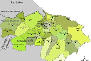 Karte - Mapa - Map: Landkreis District Comarca Marina Alta Provinz - Province - Provincia Alicante