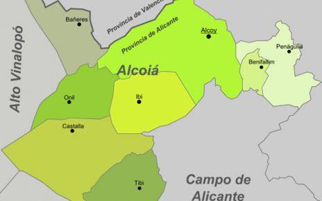 Karte - Mapa - Map: Landkreis District Comarca Comtat / Hoya de Alcoy Provinz - Province - Provincia Alicante