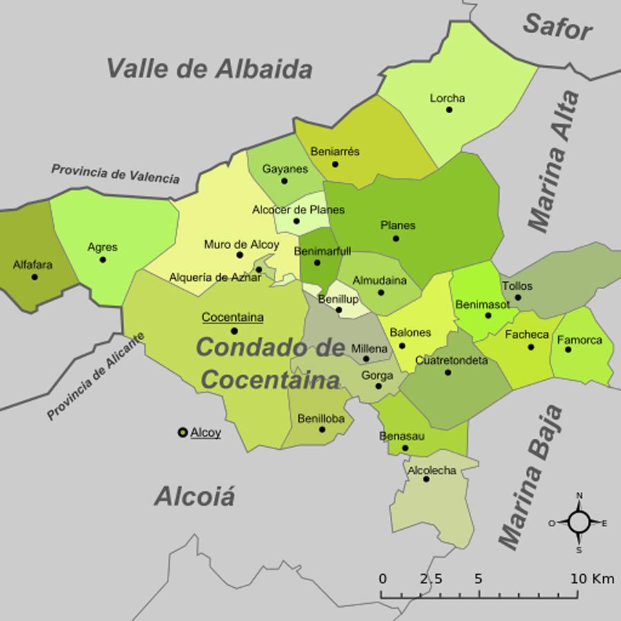 Karte - Mapa - Map: Landkreis District Comarca Comtat / Condado de Cocentaina Provinz - Province - Provincia Alicante