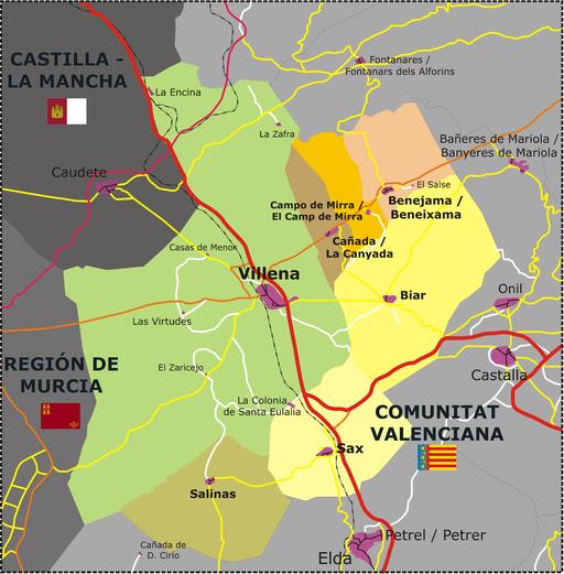 Karte / Map / Mapa - Alto Vinalopó Gemeinden im Landkreis